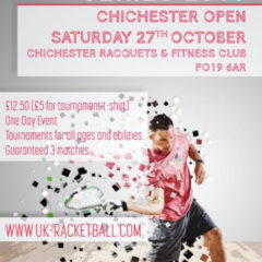 UK Racketball Series – Chichester Raquests and Fitness Club 27th October 2018